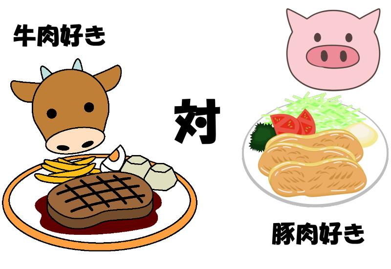 牛肉好きと豚肉好き